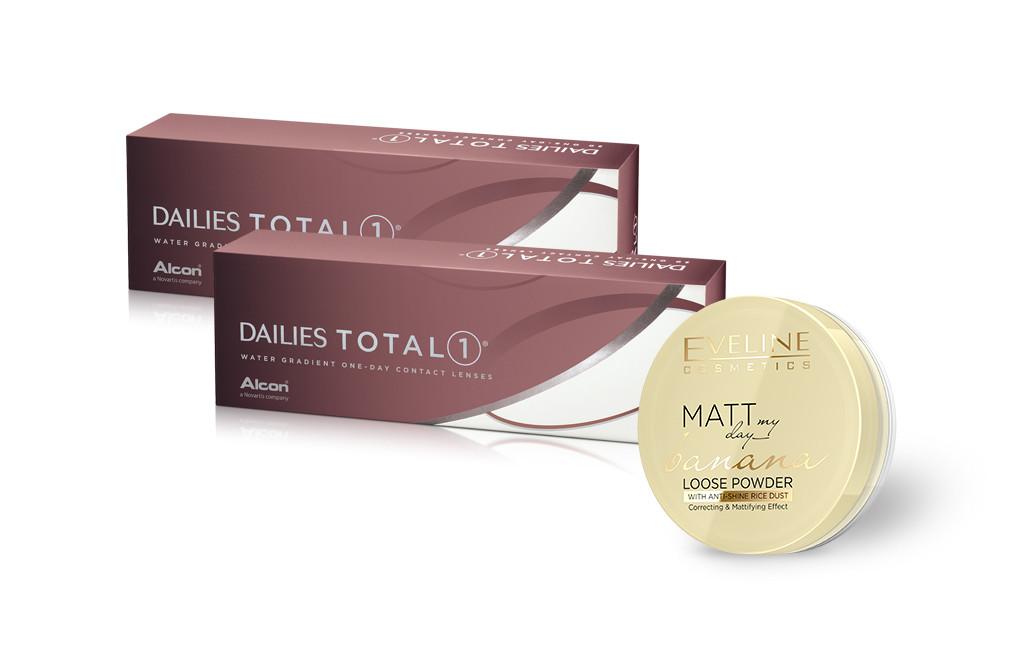 2x Dailies Total 1 - 60 soczewek - Puder Eveline Cosmetics Matt GRATIS