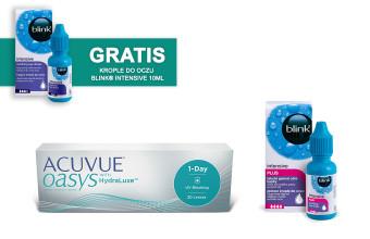 Zestaw ACUVUE® OASYS 1-Day + Krople Blink Intensive Plus + Krople Blink Intensive GRATIS