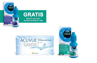 Zestaw ACUVUE® OASYS + Blink Contacts 10ml + Blink Intensive 10ml GRATIS