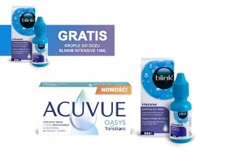Zestaw ACUVUE® OASYS with Transitions 6 soczewek + Krople Blink Intensive + Krople Blink Intensive GRATIS