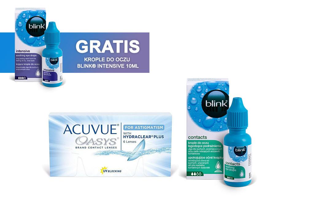Zestaw ACUVUE® OASYS for ASTIGMATISM + Krople Blink Contacts + Krople Blink Intensive GRATIS