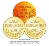 Laur konsumenta 2011, 2012. Lider jakości 2012.