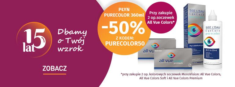 -50% na płyn PureColor 360ml przy zakupie 2op. kolorowych soczewek marki MonoVision